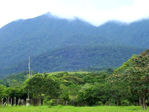 The Tenorio Volcano is an impressive but dormant volcano mountain at the northwest end of Lake Arenal.
