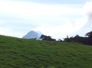 Arenal Volcano can be seen from many places on the finca.