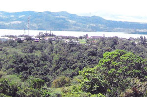 The town of Nuevo Arenal, seen here from the property, is 6 or 7 minutes away.