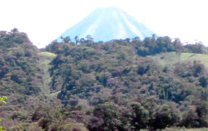 The Arenal Volcano, here shown clser than actual, is visible from the acreage.
