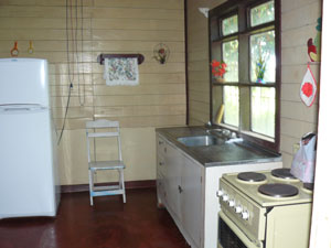 The kitchen is in two rooms.