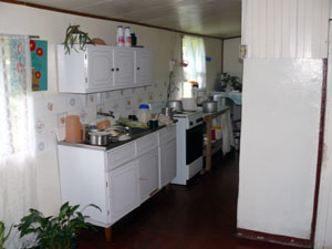 The kitchen in the 2 bedroom 1 bath house.