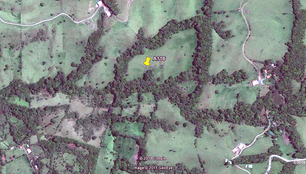 The 24 acres has a large central pasture with surrounding forest following 2 streams.