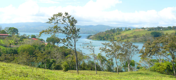 This 8-acre property borders San Luis Cove and has a great hilltop building site overlooking the cov and Lake Arenal.