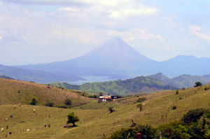 Arenal Volcano as seen from a hilltop in the Chiripa area where this finca is.