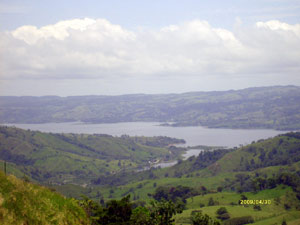 From the houses, here's the view down the fabulously beautiful valley to the Rio Chiquito estuary in Lake Arenal.