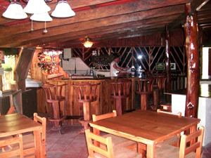 The rusticated interior such as the bar provides a funky charm that provides a wonderful atmosphere.