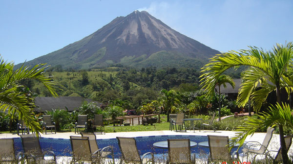The 40-room hotel is located 10 minutes from La Fortuna and has a brilliant Arenal Volcano view.