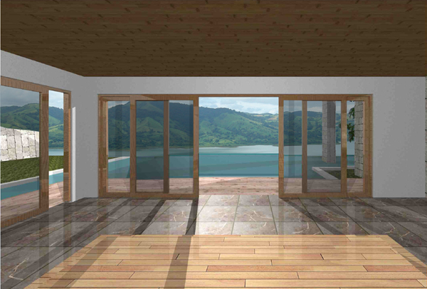 A rendering of view of pool and lake from inside first-floor living room.