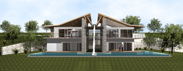 Here is a rendering of one of the unique volcano-view homes planned for the 1.5-acre lots above the forested acreage.