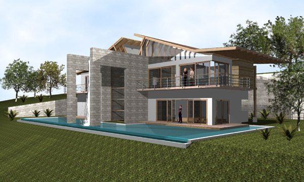 a 3/4 ground-level view of the house showing the circulating swimming pool and rooftop waterfall.