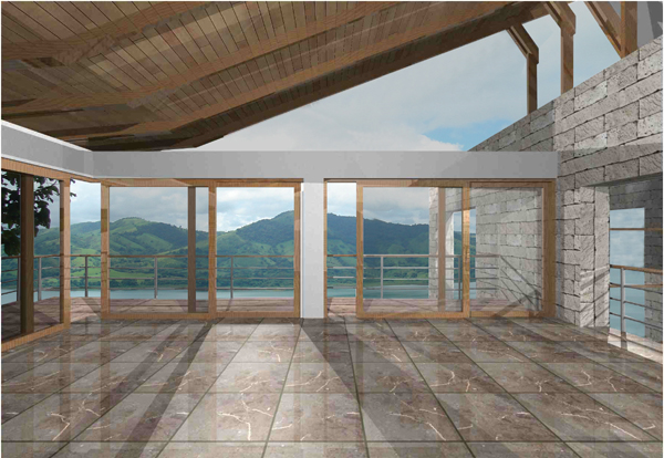 A rendering of the lake view from the second floor living area.