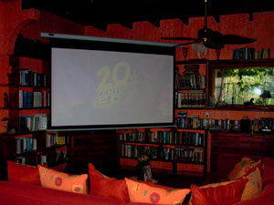 The comfortable library is sometimes the site of films projected on a large portable screen.