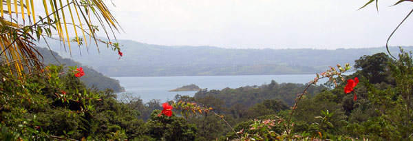The hotel has a fine vista of Lake Arenal.