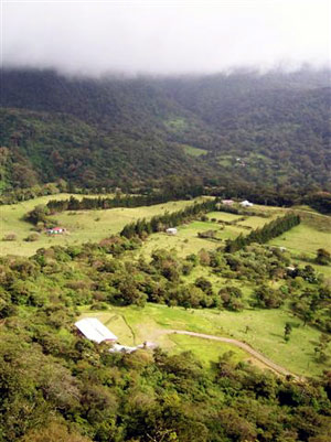 The lodge is right at the bottom of the forested reserve hills with San Luis farmland opening out below it.