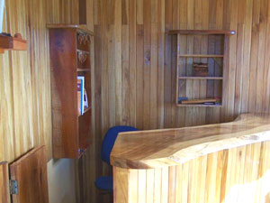 The reception desk is in the restaurant.