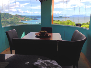 There's a wonderful view of Playa Hermosa from the curved windows of the dining area.