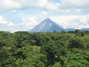 The Arenal Volcano is very prominent from Bella Vista Estates.