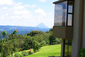 Arenal Volcano is visible from the 3 houses.