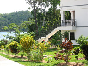 These condominiums are very close to Lake Arenal's warm waters.