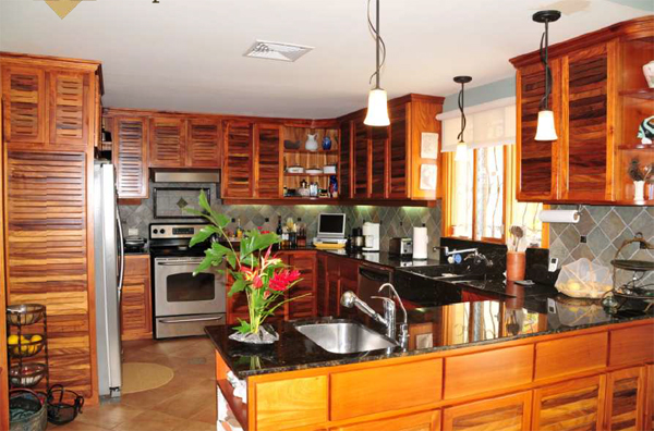 The beautiful open kitchen has custom cabinets, granite countertops and luxury applicances.