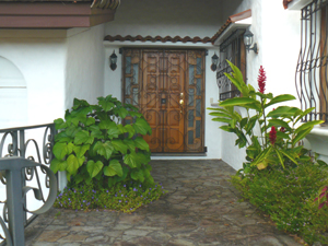 The entrance doors display the fine wood craftsmanship in the home.