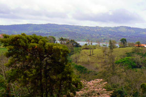 Across the lake is the town of Nuevo Arenal.