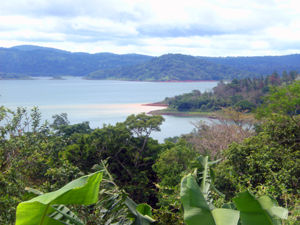 On the lake side, the house has good views of Lake Arenal, including Puerto San Luis Cove.
