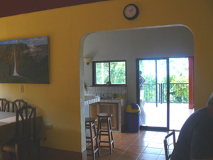 There's a lake view through the whole house  from the living room through the kitchen archway and the deck windows.