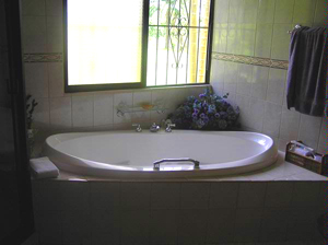 The uniquely shaped spa tub.