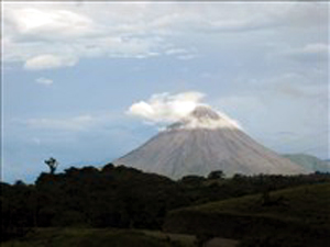 Arenal Volcano with a cloud necklace.
