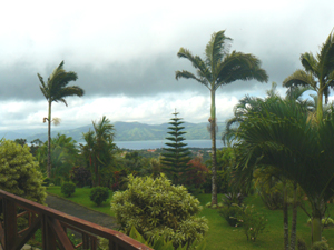 A view of Nuevo Arenal and the lake as seen from the home's wide patio.