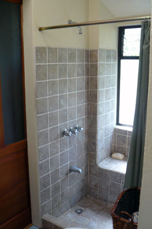The master bath is compartmentalized and has fine detail.