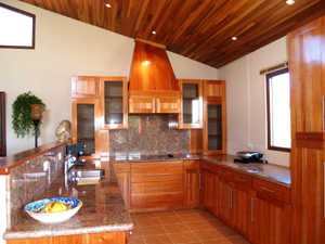 The fine kitchen, part of the open plan, has fine appliances and a lake view.