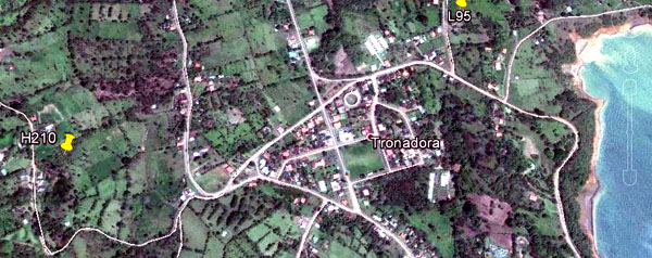 This Google image shows the location of the property on the hillside above Tronadora, the village of Tronadora, and the edge of the lake.