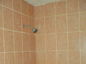 Tiling and showerhead in the new modernized bathroom.
