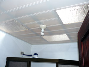Throughout the house there is a special plastic ceiling with several skylights as in the bathroom.