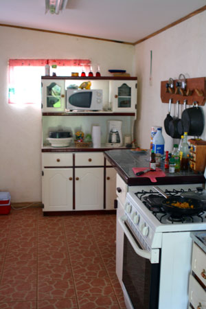 The kitchen is fairly large and well equipped.