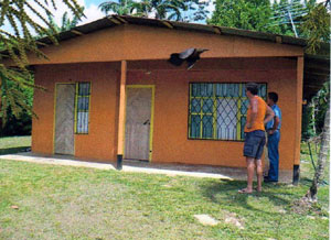 The house is in the village of Rio Celeste just off the paved road between La Fortuna and Upala.