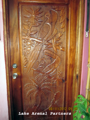 Carved hardwood door