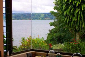 The view from the kitchen includes the volcano as well as the long, wide lake.