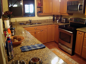 The kitchen has been completely remodeled and contains expensive appliances.
