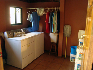 The laundry is a large room with baoth washer and dryer.