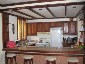 The kitchen has a dropped ceiling with fine wood trim.