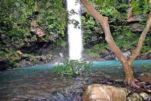 A cool waterfall indicates of the volcano watershed to the Guanacaste lowlands.