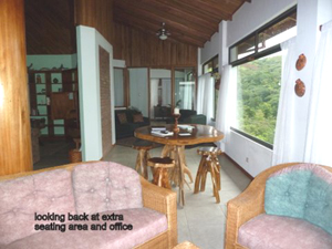 The open area extends along the volcano side of the house to the office.